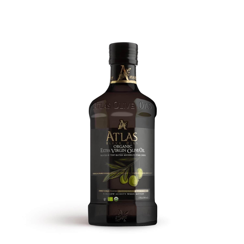 ATLAS Premium Organic Extra Virgin Olive Oil 500ml glass bottle