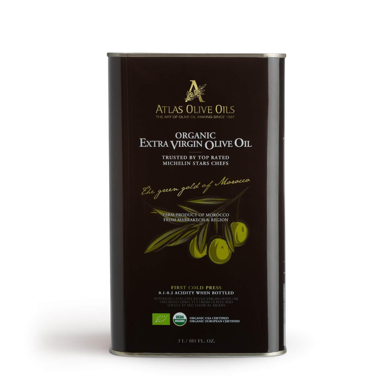 ATLAS Premium Organic Extra Virgin Olive Oil 3000ml metal tin