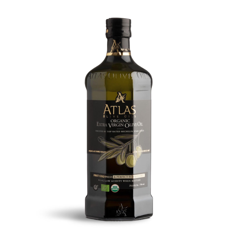 ATLAS Premium Organic Extra Virgin Olive Oil 750ml glass bottle